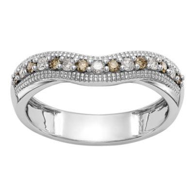 Womens 1/5 CT. T.W. Genuine Multi Color Diamond 14K Gold Wedding Band