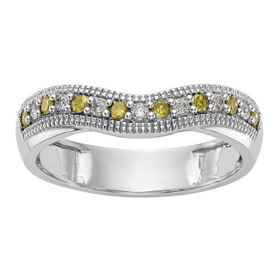 Womens 1/5 CT. T.W. Multi Color Diamond 14K Gold Wedding Band