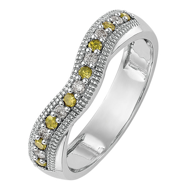 Womens 1/5 CT. T.W. Genuine Multi Color Diamond 14K Gold Wedding Band
