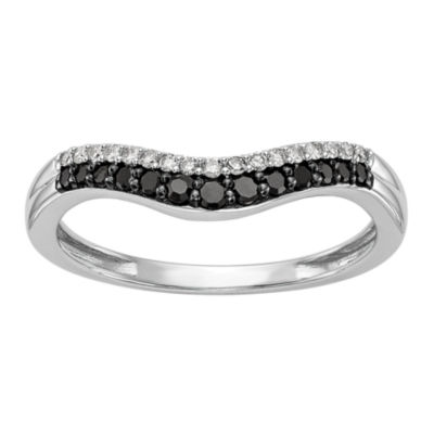 Womens 1/5 CT. T.W. Genuine Multi Color Diamond 14K White Gold Curved Wedding Band