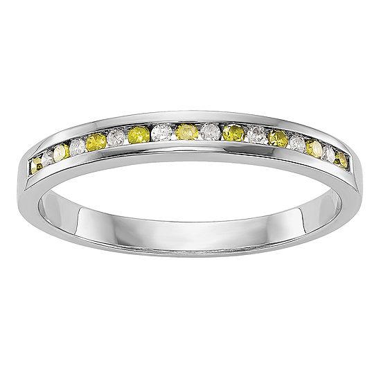 2MM 1/6 CT. T.W. Genuine Multi Color Diamond 14K White Gold Round Wedding Band