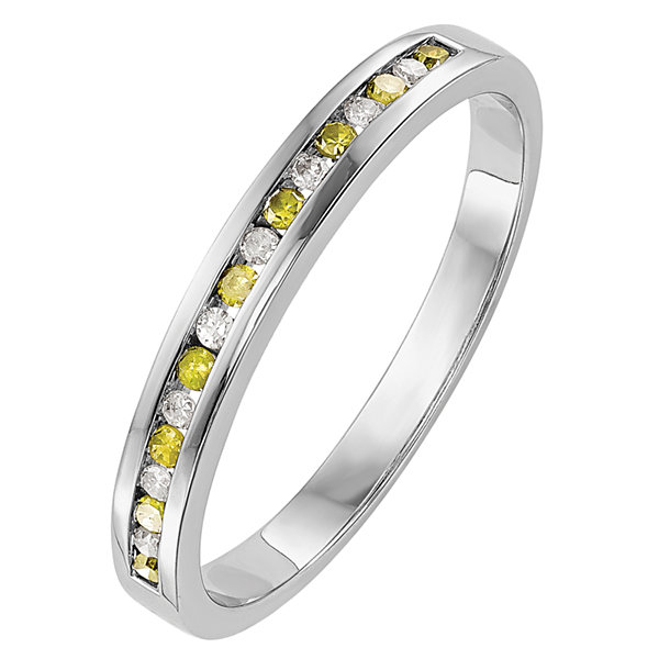 Womens 1/6 CT. T.W. Genuine Multi Color Diamond 14K Gold Wedding Band