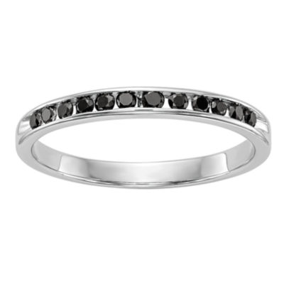 Womens 2mm 1/4 CT. T.W. Genuine Black Diamond 14K White Gold Round Wedding Band