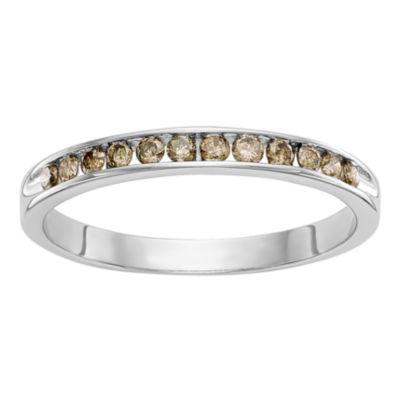 Womens 2mm 1/4 CT. T.W. Genuine Champagne Diamond 14K White Gold Round Wedding Band