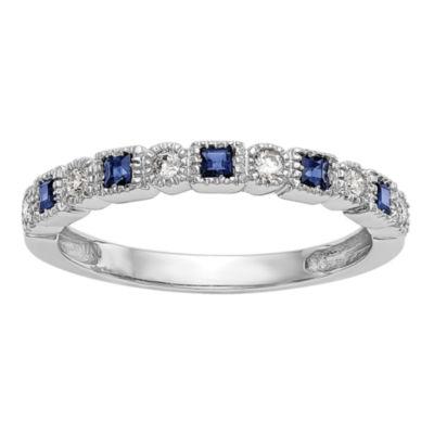 Womens 1/10 CT. T.W. Genuine White Diamond 14K White Gold Round Wedding Band