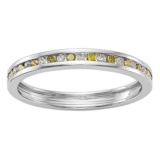2.5MM 1/4 CT. T.W. Genuine Multi Color Diamond 14K White Gold Round Wedding Band