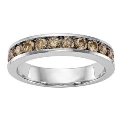Womens 4mm 3/4 CT. T.W. Genuine Champagne Diamond 14K White Gold Round Wedding Band