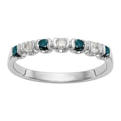 Womens 2mm 1/4 CT. T.W. Genuine Multi Color Diamond 14K White Gold Round Wedding Band
