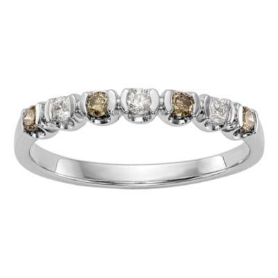 Womens 1/4 CT. T.W. Multi Color Diamond 14K Gold Wedding Band