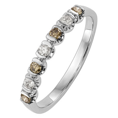 Womens 2mm 1/4 CT. T.W. Genuine Multi Color Diamond 14K White Gold Round Wedding Band