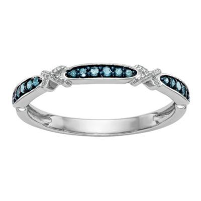 Womens 1/10 CT. T.W. Genuine Blue Diamond 14K Gold Wedding Band