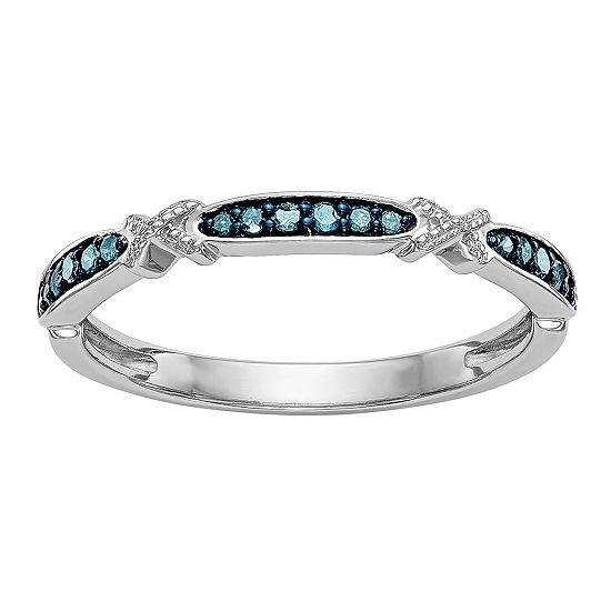 Womens 2MM 1/10 CT. T.W. Genuine Blue Diamond 14K White Gold Round Wedding Band