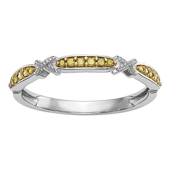 Womens 2MM 1/10 CT. T.W. Genuine Yellow Diamond 14K White Gold Round Wedding Band