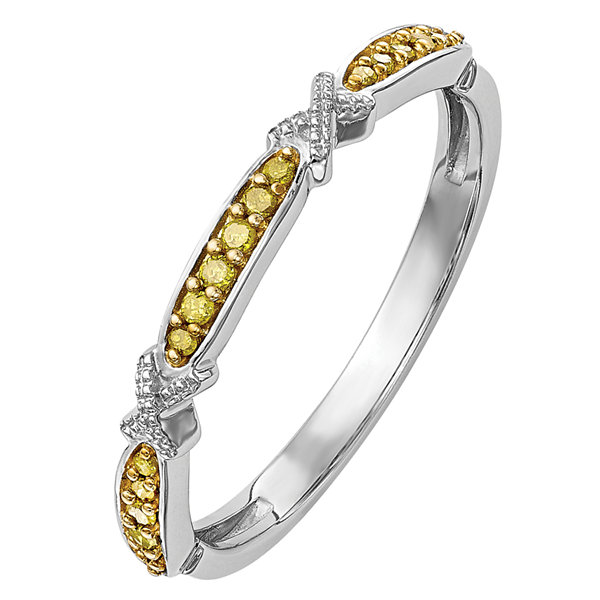 Womens 1/10 CT. T.W. Yellow Diamond 14K Gold Wedding Band