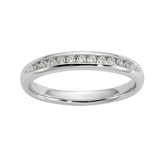 Womens 3mm 1 6 Ct Tw Genuine White Diamond 14k White Gold Round Wedding Band