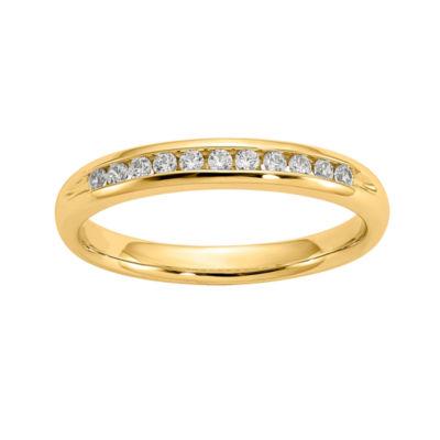 Womens 3mm 1/6 CT. T.W. Genuine White Diamond 14K Gold Round Wedding Band