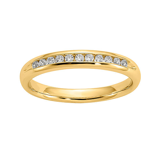 Womens 3mm 1 6 Ct Tw Genuine White Diamond 14k Gold Round Wedding Band