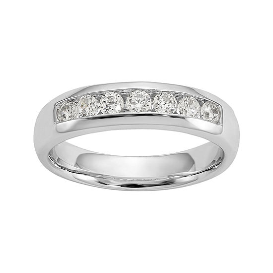 Womens 4.5MM 1/2 CT. T.W. Genuine White Diamond 14K White Gold Round Wedding Band