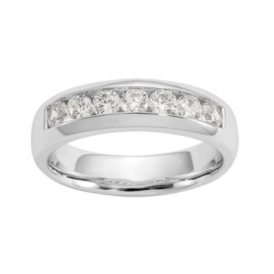 Womens 5MM 1 CT. T.W. Genuine White Diamond 14K White Gold Round Wedding Band