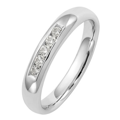 Womens 3mm 1/6 CT. T.W. Genuine White Diamond 14K White Gold Round Wedding Band