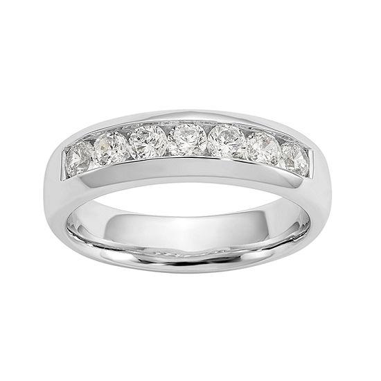 Womens 5MM 1 1/4 CT. T.W. Genuine White Diamond 14K White Gold Round Wedding Band