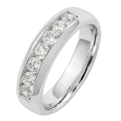 Womens 5MM 1 1/4 CT. T.W. Genuine White Diamond 14K White Gold Round Wedding Band