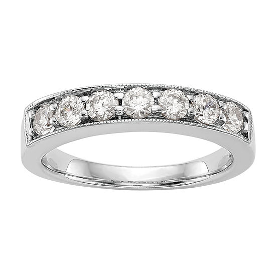 2MM 3/4 CT. T.W. Genuine White Diamond 14K White Gold Round Wedding Band