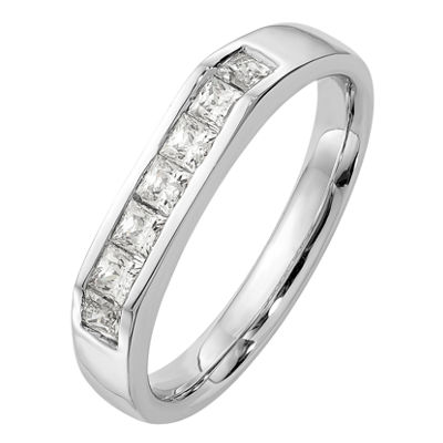 Womens 3mm 1/2 CT. T.W. Genuine White Diamond 14K White Gold Round Wedding Band