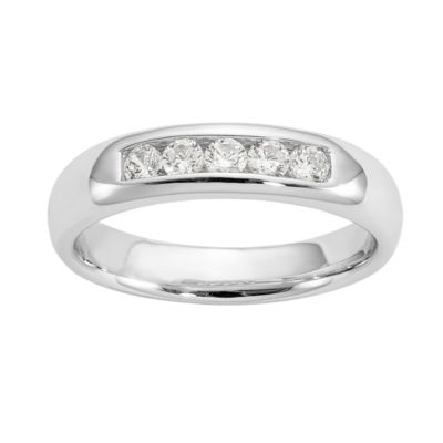 Womens 3.5mm 1/3 CT. T.W. Genuine White Diamond 14K White Gold Round Wedding Band