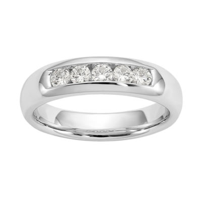 Womens 4mm 3/8 CT. T.W. Genuine White Diamond 14K White Gold Round Wedding Band