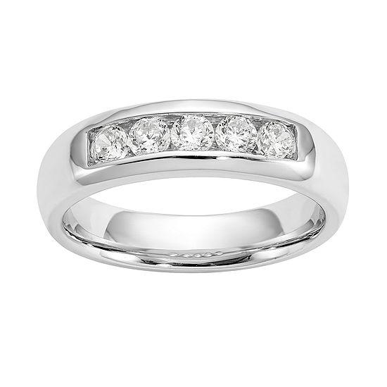 Womens 4.5MM 1/2 CT. T.W. Genuine White Diamond 14K White Gold Round Wedding Band