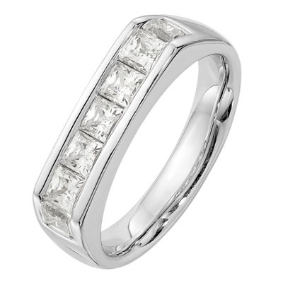Womens 3.5mm 1 1/5 CT. T.W. Genuine White Diamond 14K White Gold Round Wedding Band