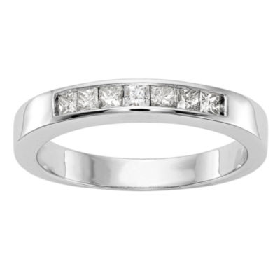 Womens 3mm 1/3 CT. T.W. Genuine White Diamond 14K White Gold Round Wedding Band