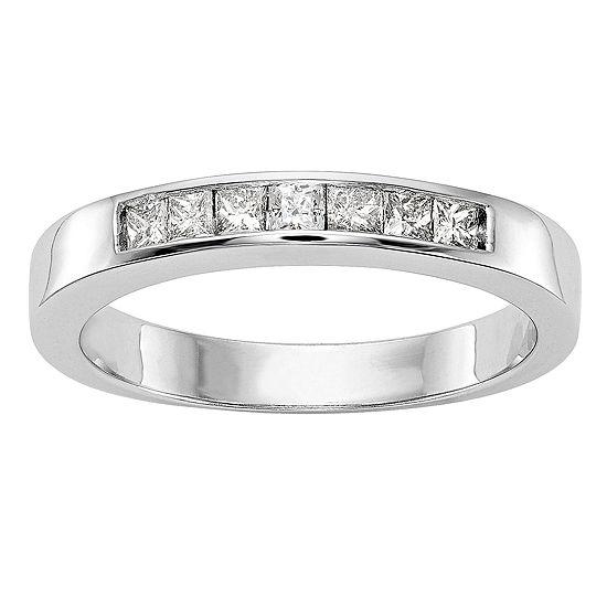 Womens 3mm 1 3 Ct Tw Genuine White Diamond 14k White Gold Round Wedding Band