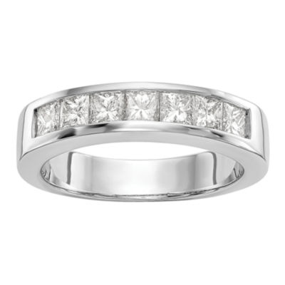 Womens 3mm 3/4 CT. T.W. Genuine White Diamond 14K White Gold Round Wedding Band