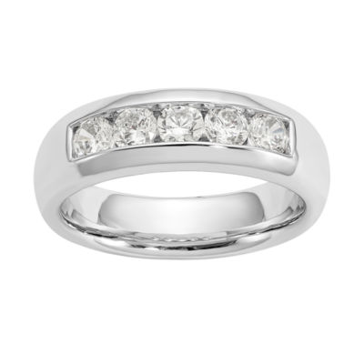 Womens 5.5mm 1 CT. T.W. Genuine White Diamond 14K White Gold Round Wedding Band