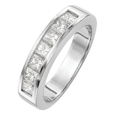Womens 3.5mm 1 CT. T.W. Genuine White Diamond 14K White Gold Round Wedding Band