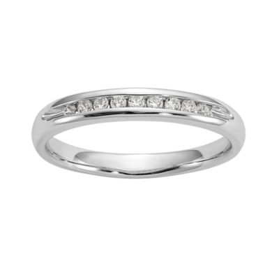 Womens 2.5MM 1/10 CT. T.W. Genuine White Diamond 14K White Gold Round Wedding Band