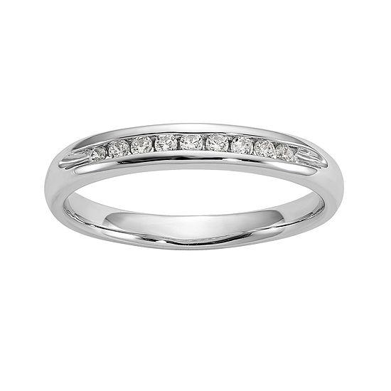 2.5MM 1/10 CT. T.W. Genuine White Diamond 14K White Gold Round Wedding Band