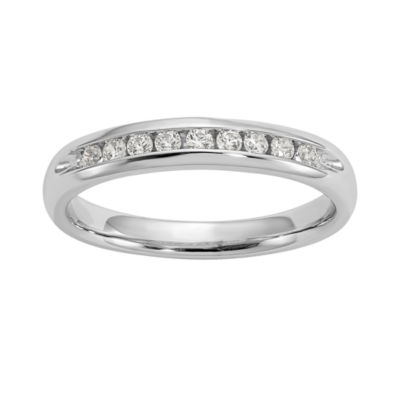 Womens 3MM 1/5 CT. T.W. Genuine White Diamond 14K White Gold Round Wedding Band