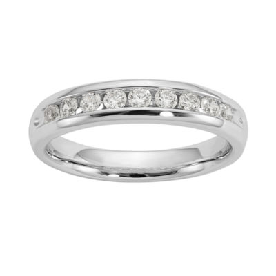 Womens 3.5mm 3/8 CT. T.W. Genuine White Diamond 14K White Gold Round Wedding Band