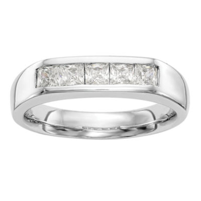 Womens 3.5mm 3/4 CT. T.W. Genuine White Diamond 14K White Gold Round Wedding Band