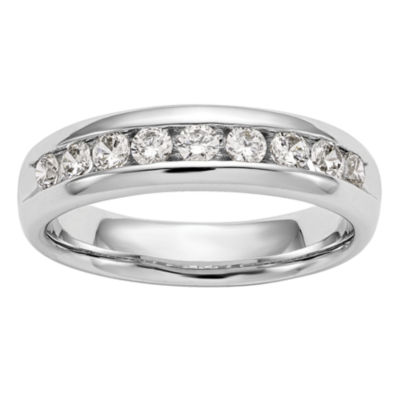Womens 4MM 3/4 CT. T.W. Genuine White Diamond 14K White Gold Round Wedding Band