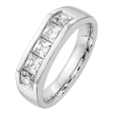 Womens 3.5mm 1 3/8 CT. T.W. Genuine White Diamond 14K White Gold Round Wedding Band
