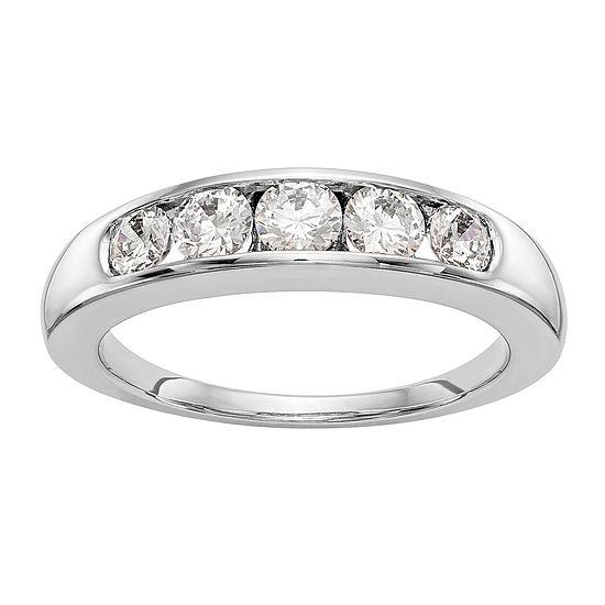 3/4 CT. T.W. Genuine White Diamond 14K White Gold Round Wedding Band