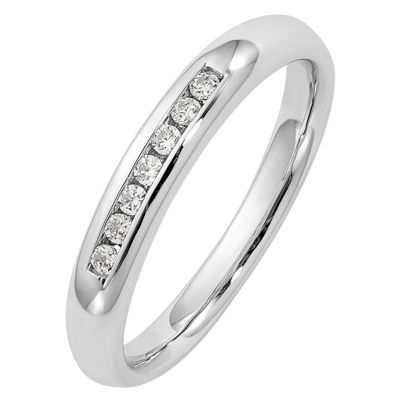 Womens 3mm 1/10 CT. T.W. Genuine White Diamond 14K White Gold Round Wedding Band
