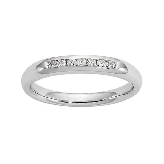 Womens 3MM 1/8 CT. T.W. Genuine White Diamond 14K White Gold Round Wedding Band
