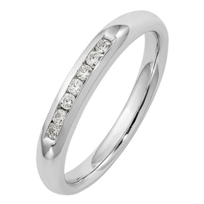 Womens 3mm 1/8 CT. T.W. Genuine White Diamond 14K White Gold Round Wedding Band