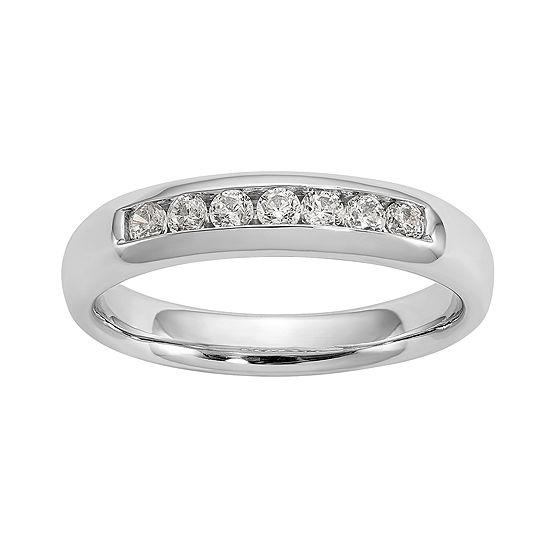 Womens 3.5MM 1/4 CT. T.W. Genuine White Diamond 14K White Gold Round Wedding Band