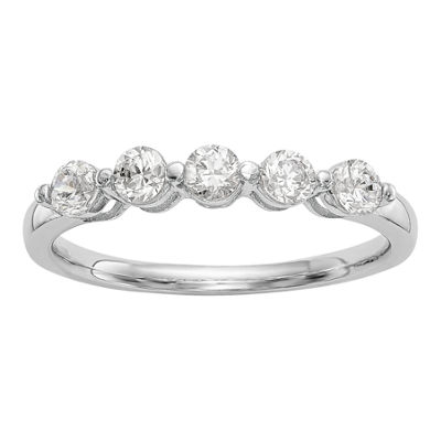 Womens 3/4 CT. T.W. Genuine White Diamond 14K White Gold Round Wedding Band